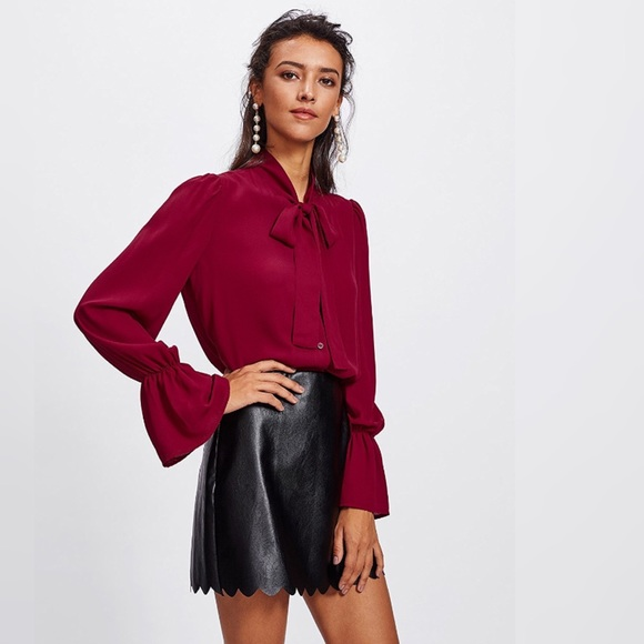2aa00cefb50911 fairlygirly Tops | Bell Sleeve Pussy Bow Chiffon Button Front Blouse ...